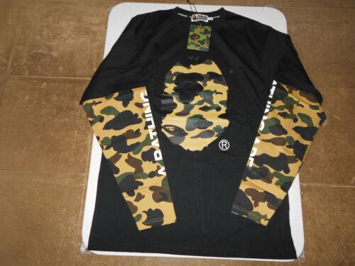 AUTHENTIC APE BAPE 1ST CAMO APE HEAD LAYERED L//S TEE T SHIRT BLACK XL 2XL NEW