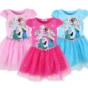 Gorgeous-Kids-Girls-Dress-Frozen-Queen-Elsa-Princess-Anna-Party-Dress-K43