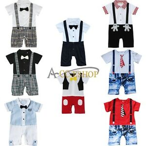 63bfaaa4017 Baby Boys One Piece Wedding Formal Tuxedo Suits Gentleman Romper ...