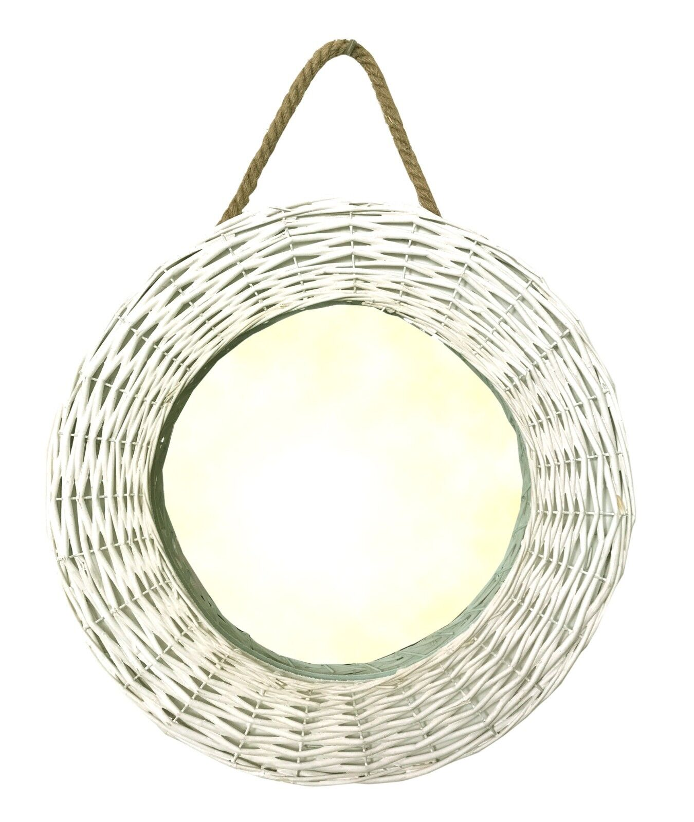 Country Style White Painted Wicker Rope Bedroom Hall Wall Hanging Round Mirror For Sale Online Ebay