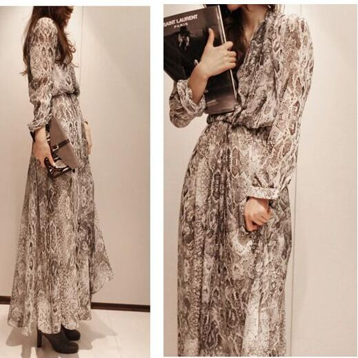 Summer Womens Boho Chiffon Snake Print Long Sleeve Dress Sleeveless Beach Maxi