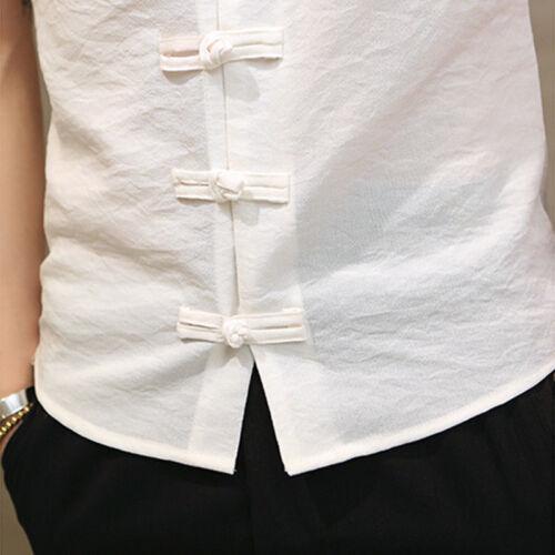 Hommes Lin Coton Fin T-Shirt Manche Courte Col Grand-Père Haut Bouton Grenouille