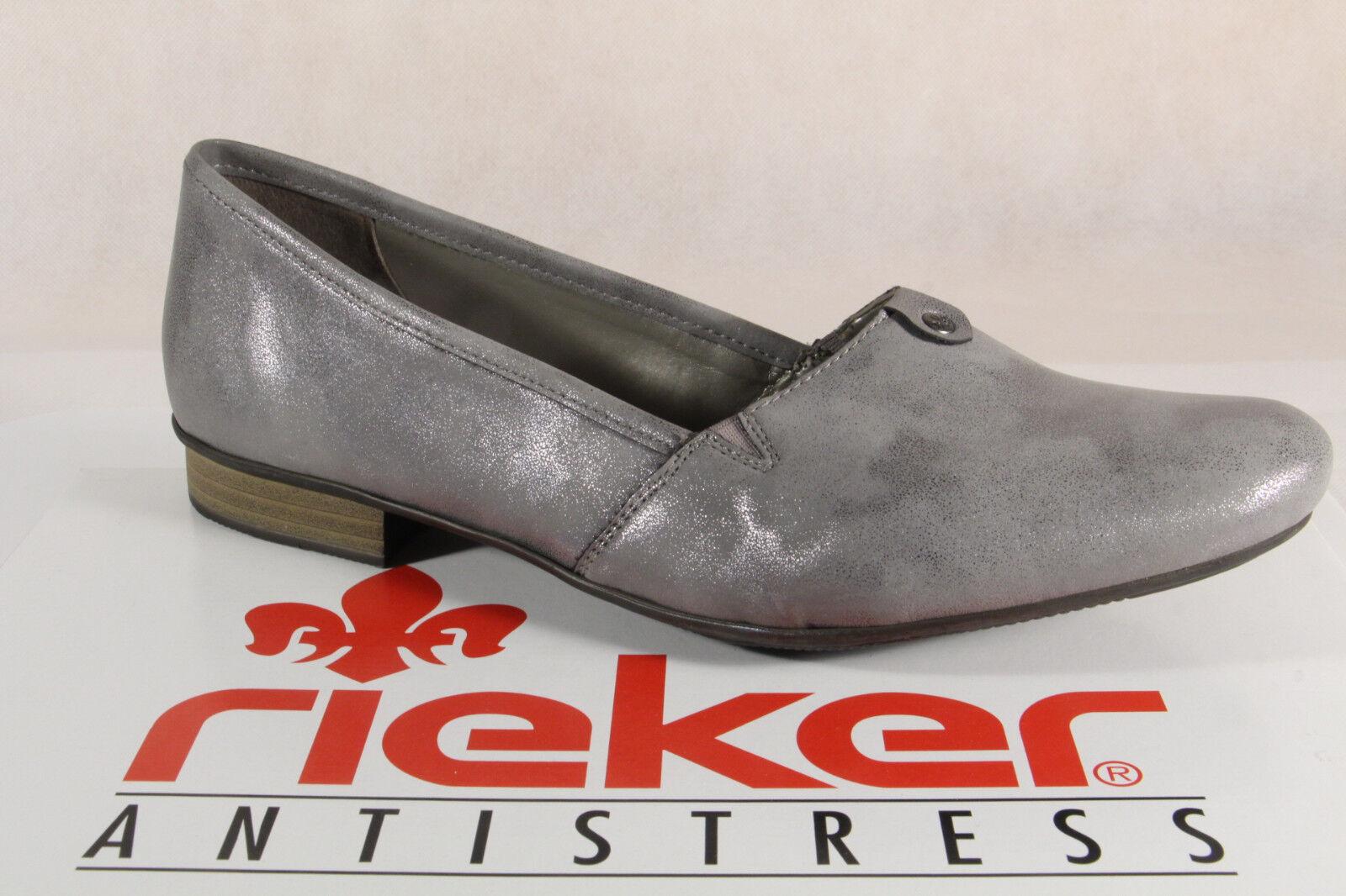 Rieker Slipper Ballerina Pumps Halbschuhe schwarz Echtleder 53762  NEU
