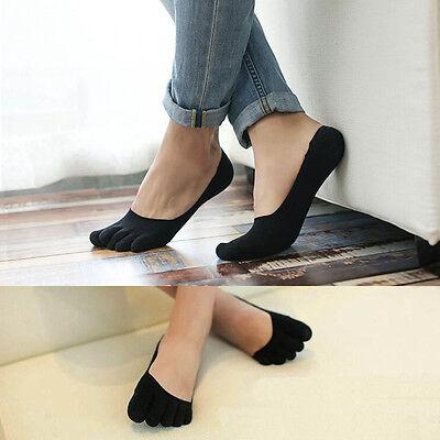 1Pair Women Men Antibacterial Soft Five Finger Toe Cotton Low Cut Boat Socks