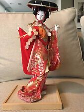 "Vintage Japanese Geisha Doll 13.5"" Tall; Beautiful Outfit & Detail; on Wood Base"