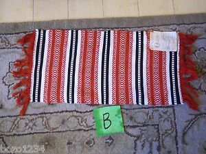 "NWT VINTAGE WOVEN HUNGARIAN RUNNER FOLK ART RED BLK WHT 22.5"" L x 11.5"" W **"