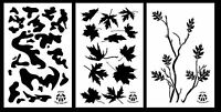 3pack Spray Paint Camouflage Stencils 14 Oak Branch - Leafy Maple - Army Camo