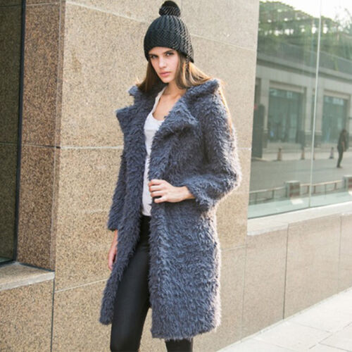 Women Teddy Bear Long Knee Coat Ladies Vintage Faux Fur Long Jacket Top UK 8-16