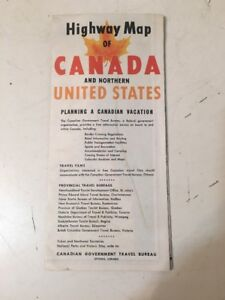 Details about Vintage 1958 Large Foldout Highway Map Canada & Northern US  Canadian Govt Travel