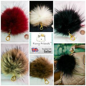 16 Cm X-big Réel Pompon Porte-clés Fourrure Moelleuse Balle Case Fashion Jewellery Bag Charm-afficher Le Titre D'origine