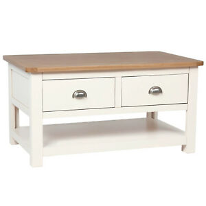 Image Is Loading Cream Painted Storage Coffee Table Oak With 2
