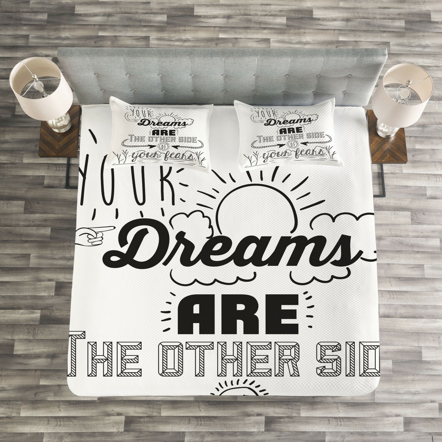 Quotes Quilted Bedspread & Pillow Shams Set, Optimistic Winner Slogan Print