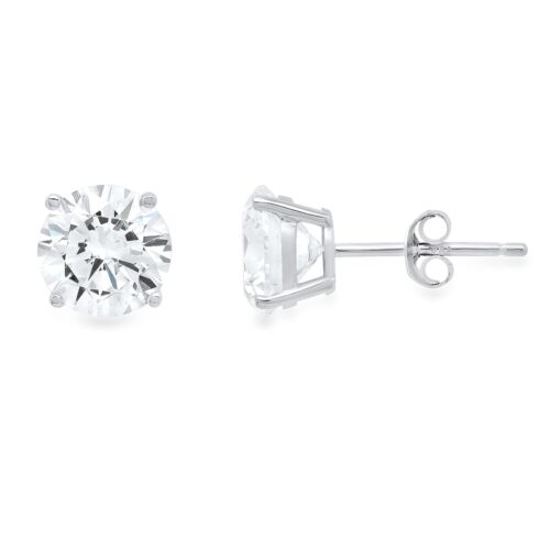 3.0ct Round Cut Created White Sapphire Stud Earrings 14k White Gold Push Back