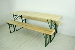 Incredible Details About Vintage Industrial German Beer Table Bench Set Garden Customised Length Natural Evergreenethics Interior Chair Design Evergreenethicsorg