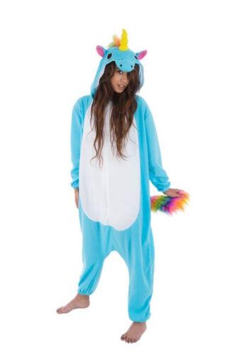 Blauer Einhorn Kigurumi Pyjama Kostüm Gr M-XL Plüsch Cosplay Damen Onesies