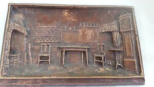 Image Is Loading Old Syroco Wood Home Kitchen Scene Bas Relief