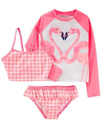 OSHKOSH Girls/' 12 Gingham Bikini /& Flamingo Rashguard 3-Pc Swim Set NWT
