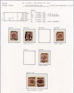 Memel-Nr-173-Studie-auf-6-Albenseiten-in-Einheiten-Typen-PLATTENFEHLER-C0256