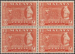 MALAYSIA-MALAYA-PERLIS-1957-2c-ORANGE-B-4-MNH