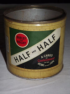 VINTAGE-BURLEY-amp-BRIGHT-HALF-AND-HALF-BOWL-OF-ANY-PIPE-TOBACCO-TIN