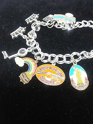 Vintage Tops Weight Loss 8 In Bracelet With 8 Charms Nashville Scale Fan Rainbow Ebay
