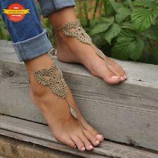 2 Pcs Boho Women Ankle Bracelet Chain Barefoot Sandal Foot Jewelry Beach Wedding