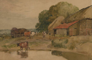 Alfred-William-Rich-1856-1921-Early-20th-Century-Watercolour-Cattle-Farm