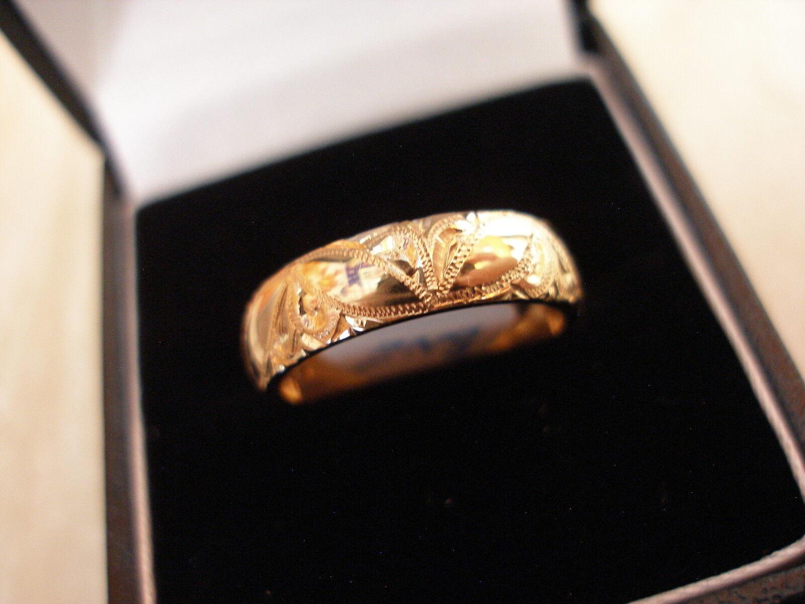 9 CARAT YELLOW gold 5MM HAND ENGRAVED HEAVY D SHAPE WEDDING RING BY B & N BNIB
