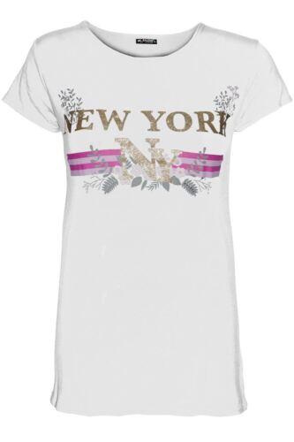Womens Ladies Celeb Printed Turn Up Sleeve Oversized Curved Hem T-Shirt Tee Top