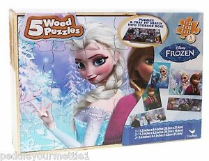 NEW-Disney-Frozen-5-Wood-Puzzles-In-Wooden-Storage-Box-SEALED