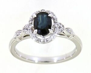 0-94-Carat-Blue-Sapphire-Oval-Gemstone-Real-Diamond-Bridal-Wear-Ring-White-Gold