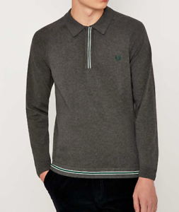 Fred Perry Raglan Tipped Gris à Manches Longues Polo Shirt-Neuf avec étiquettes