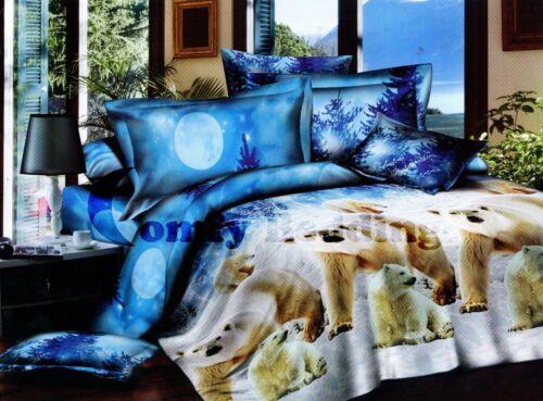 Polar Bear Luxury Cotton Bedding Set:1 Duvet Cover /& 2 Pillowcases Queen//King