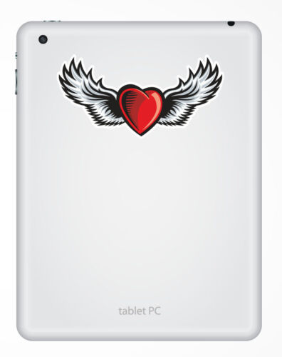 2 x 10cm Heart with Wings Vinyl Sticker Tattoo Laptop Bike Roller Derby #5686