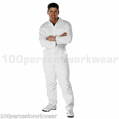 "Radient Size 38"" Reg Leg Pc182 White Painters Decorators 100% Cotton Work Overalls New"