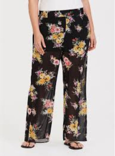 f46e897a0d9 Torrid Floral Black Chiffon Pant Short Beach Pants LT Flowy 4X 26  88812