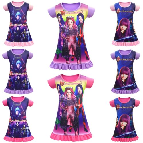 Descendants 3 Cosplay Nightwear Dress Mal Costume Pajamas Nightie Skirt Dress Up