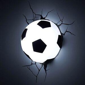 3d Wall Light Decor : 3D Soccer Ball Deco Wall LED Night Light Crack Sticker Kids/Sports Room Decor eBay