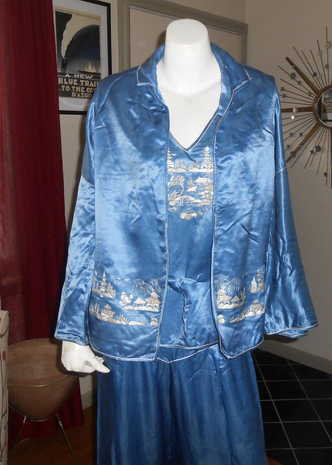 Chinese Embroidered Silk Charmeuse Beach Pajamas … - image 1