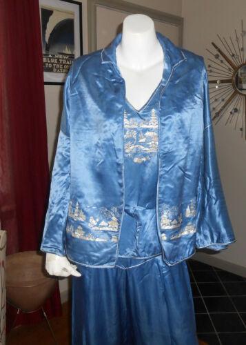 Chinese Embroidered Silk Charmeuse Beach Pajamas B
