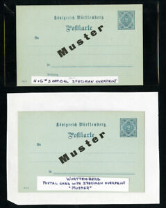 Wurttemberg-Stamp-Stationary-Collection-With-Specimen-Overprint
