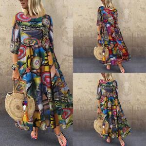 ZANZEA-Femme-Oversize-Robe-Demi-Manche-imprimee-Casuel-Vancances-Dresse-Maxi