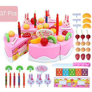 37PcsSet Boys Girls Kids Birthday Cake DIY Play Food Pretend Toys