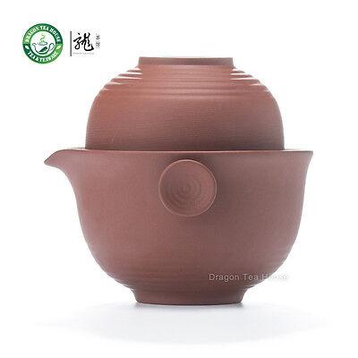 Yixing Clay Red Gongfu Teacups & Teapot Travel Set 3 Pcs
