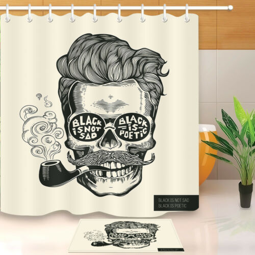 "Hipster Skull Shadow Shower Curtain Liner Bathroom Mat Waterproof Fabric 72/"""