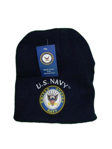 "8/"" US Navy Emblem USN Seal Crest Blue Embroidered Beanie Skull Cap Hat WIN602B"