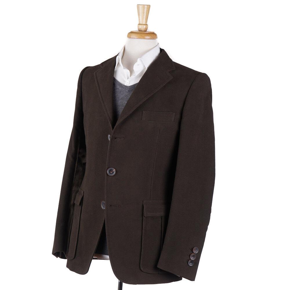 New 2395 D'AVENZA Chocolate Braun Heavy Brushed Cotton Blazer 38 R Sport Coat
