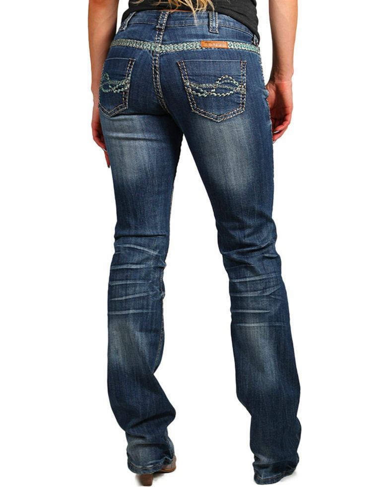 Cowgirl Tuff Women's Trailblazer Boot Cut WESTERN MID-RISE Jean Indigo 31X33