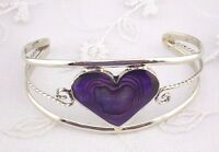 Alpaca Mexican Silver Cuff Bracelet Purple Abalone Heart Fashion Jewelry