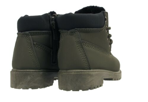Boys Girls Kids Infants Childrens Lace Warm Fur Lined Winter Combat Ankle Boots
